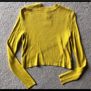H&M Trend Yellow Crop Ribbed Sweater Split Back 6